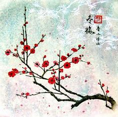 Red cherry blossoms on silver background