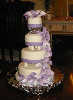 denas sweety cakes   calla lilly lavendar purple wedding