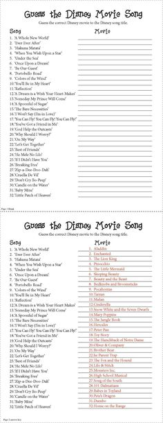 Guess the Disney Movie Song Party Game. I made this for a baby shower based off a internet qui but it could be used for anything!. Not as easy as it looks. Spans a range in age and I can honestly say no one got them all right. Though I do suggest you say No smart phones/ipads to look up the answers!