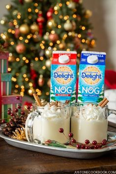 Delicious @indelight Eggnog!  Do you drink eggnog chilled or hot? Just for fun, I am sharing my favorite eggnog brand I found this year, how I drink it, and my comparison between chilled and warm eggnog. | Just One Cookbook