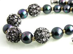Pearl Rhinestone Necklace ... Charcoal Grey by TrinketsNWhatnots