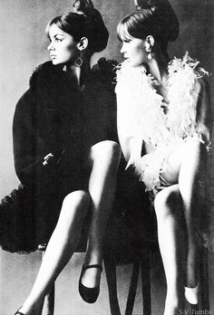 Jean Shrimpton and Celia Hammond by Helmut Newton for Vogue UK, June 1966.