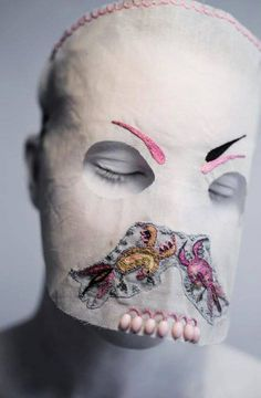 strange, creepy and beautiful textile art mask by Magnhild Kennedy Textiles, Headdress, Headpiece, Mode Costume, Body Adornment, Masks Art, Headgear, Costume Design, Textile Art