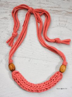 How to Finger Weave a Necklace with T-shirt Yarn - Repeat Crafter Me