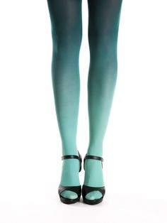 Teal green ombre tights by Virivee! Hand dyed superb quality ombre tights.