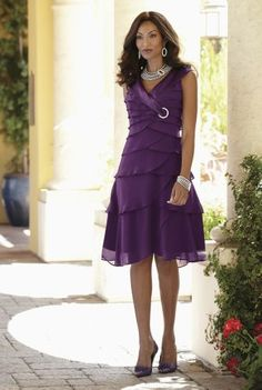 Satin Trim Tiered Dress from Midnight Velvet® Junior Party Dresses, Holiday Wear, Plum Color, Tiered Dress, Casual Dresses For Women, Velvet, My Style, Stylish, Satin