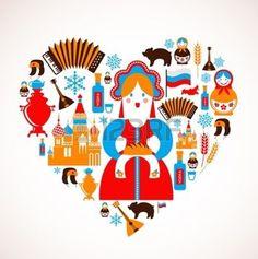 russe: Amour Russie - coeur avec des icônes Illustration