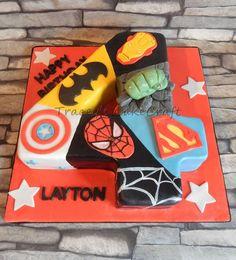 Super hero number cake