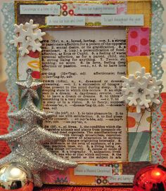 Read more @ http://www.thescrapperinme.blogspot.com !  Christmas Altered Photo Frame!    Items used:  -IKEA photo frame  -Echo Park Christmas Bells and Crate Paper Snow Day Collection  - Glittered christmas tree from Spotlight  -Martha Stewart Vintage Lace punch  - Colorbok crystals