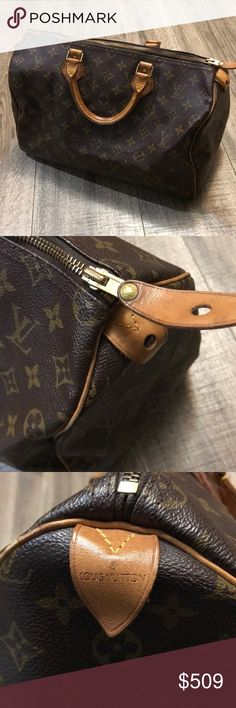 Authentic Louis Vuitton Speedy 35 Awesome bag, lots of life left! Platina on leather and darkening of handles and trim. Darkening of metal hardware. Includes no dust bag, lock/key or receipt, just the bag! This is great if you can't get ahold of a new one! Black Mark on one side of the trim. Additional photos in another listing for reference with date code. Inside clean. Light odor inside can be taken care of with baking soda sitting overnight.. overall outside good condition there is a…