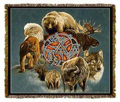 Native American Animal Spirit Circle Tapestry