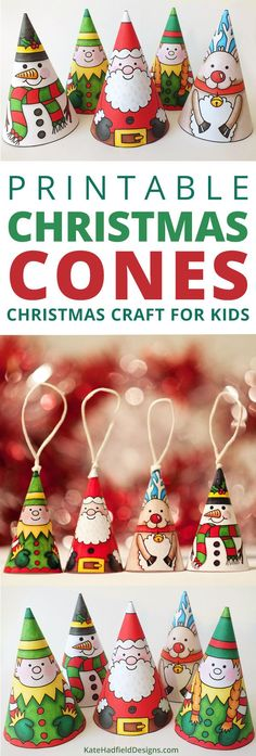 Colour In Christmas Cones - an easy Christmas craft for kids! Just print, cut our and decorate to create these cute cone characters! A fun activity the kids will enjoy each year, you can even add string or ribbon to turn them into tree ornaments! #christmascraftsforkids Christmas Crafts For Kids To Make, Christmas Activities, Kids Christmas, Holiday Crafts, Christmas Ornaments, Christmas Tree Decorations For Kids, Christmas Projects, Arts And Crafts For Adults, Easy Arts And Crafts