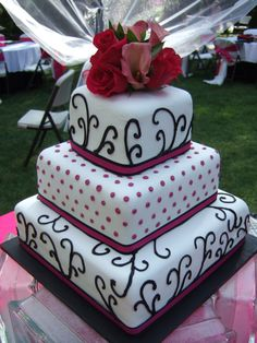 Black, white, and pink cake for Lauren
