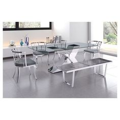 Louis-esque Stainless Steel and Upholstered Seat Dining Chair (Set of 2) - White - ZM Home