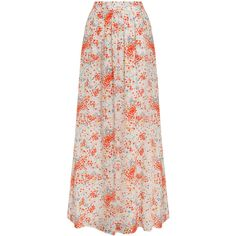 PAUL & JOE Floral Printed Maxi Skirt (805 BRL) ❤ liked on Polyvore featuring skirts, maxi skirts, bottoms, saias, long pink skirt, pull on skirts, pink pleated skirt, floral pleated skirt and floral maxi skirt
