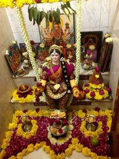 Navratri Puja will help you overcome all your negativities. Flourish with wealth on this Navratri by offering Homam to Lakshmi, Saraswathi & Durga. Diwali Decorations, Festival Decorations, Flower Decorations, Wedding Decorations, Decor Wedding, Wedding Events, Ganapati Decoration, Pooja Mandir, Pooja Room Door Design