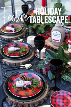 Pizzazzerie's plaid Christmas tablescape for the holidays… #entertaining #christmasparty #placesetting
