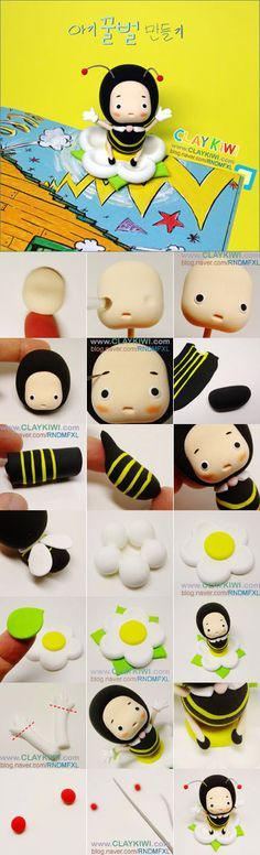 蜜蜂 软陶,Clay Crafts, Fimo, Sculpey , Modelling , Polymer Crafts with Sculpting clay , Free Kids Activities , Clay Projects, Templates and Ideas , Cute, Adorable , Kawaii, cool teen crafts, Critters and Creatures,Japanese crafts miniature , dollshouse,Japan Crafts