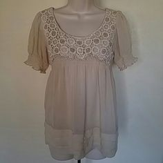 Crochet & Sheer Style Blouse Crochet & Sheer flowy style top, cream colored, no rips or stains, smoke free home. Tops Blouses