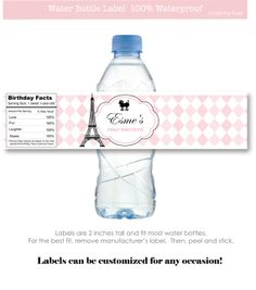 Parisienne Party Personalized Water Bottle by LittlePigPress, $15.00