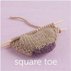 Square toe cast on for socks