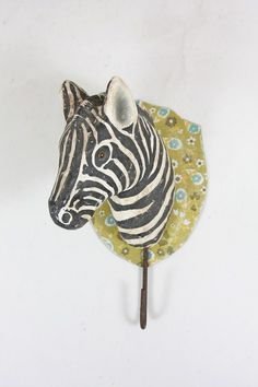 Zebra wall bust with hook  www.hammer-and-heels.com