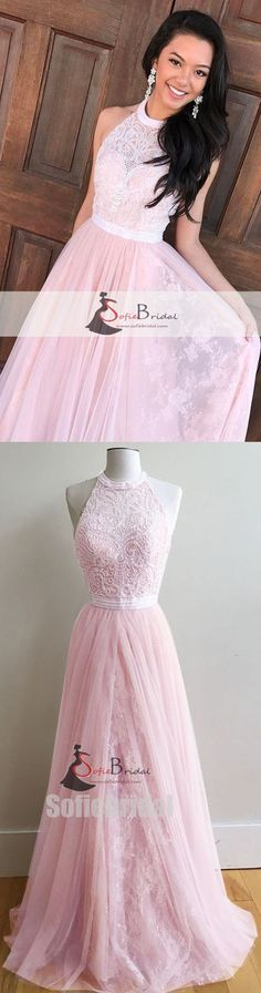 High Neck Halter Pink Lace Tulle Prom Dresses, Lovely Prom Dresses, Prom Dresses, PD0396 #promdresses