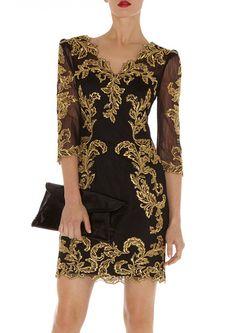 Black V Neck Embroidered Sheer Mesh Yoke Dress US$67.50 (Posted for floral design, 19th century inspired)