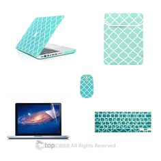 "TOP CASE 5 in 1 Bundle - Macbook Pro 13"" Quatrefoil Rubberized Hard Case + Keyboard Cover + Screen Protector + Sleeve Bag + Mouse for Model A1278 (HOT BLUE / TURQUOISE)"