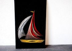 Industrial Art Sailboat Metal String Wall Plaque, 3D Mid Century Vintage Nautical Boat Decor on Etsy, $68.00