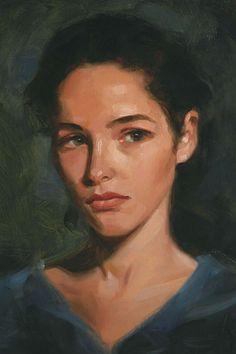 """Terralita"" - Miles Williams Mathis, oil on canvas {contemporary #impressionist art beautiful female head woman face portrait painting #loveart} mileswmathis.com"
