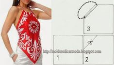 Bandana Neckholder Modes von Medida: w h a t a s t … - Diy stil Diy Clothing, Clothing Patterns, Dress Patterns, Sewing Patterns, Shirt Patterns, Sewing Hacks, Sewing Tutorials, Sewing Crafts, Sewing Blouses