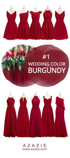 Azazie Burgundy Swatch (in 6 fabrics) Red, chiffon, mesh, lace, tulle, satin Bridesmaid dress, Wedding, Wedding gown
