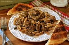 Home-Style Beef 'n Noodles with Mushrooms & Onions - Wildflour's Cottage Kitchen