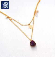 Collar drusa doble con cristales, perlas y dije en baño @Accesorios #Collares #Drusa #Lturcas