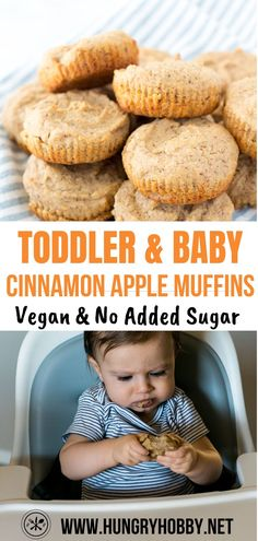 Delicious healthy cinnamon apple muffins for babies, toddlers, and kids! Dairy-Free & Egg-Free for those little ones with food allergies or sensitivities. Vegan, healthy muffins for kids, baby muffins Healthy Toddler Muffins, Healthy Baby Food, Healthy Breakfast Muffins, Healthy Muffin Recipes, Healthy Breakfast For Toddlers, Healthy Apple Muffins, Baby Muffins, Muffins For Babies, Dairy Free Snacks