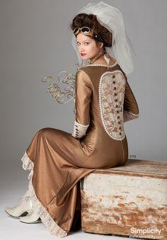Steampunk Cutout Back Dress Simplicity 1772 Womens by StitchySpot