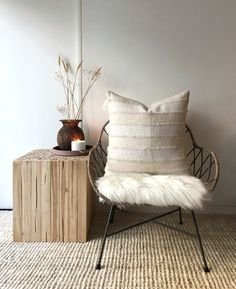 """Organic natural boho cotton cushion/pillow cover in neutral cream colour. Hand-dyed with detailed stitching and tassels. Square Size: 20"""" x 20"""" / 50 cm x 50cm #neautraldecor #bohopillow #nohocushion #bohodecor #blackandwhite"""