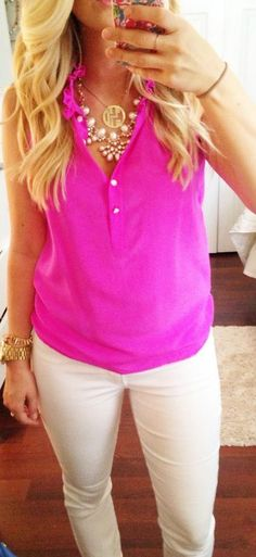 Southern Charm. Pink top. White pants. Pearls. Gold accessories. Necklaces.