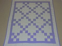 New Handcrafted Lilac/White Irish Chain Baby Quilt #Handcrafted