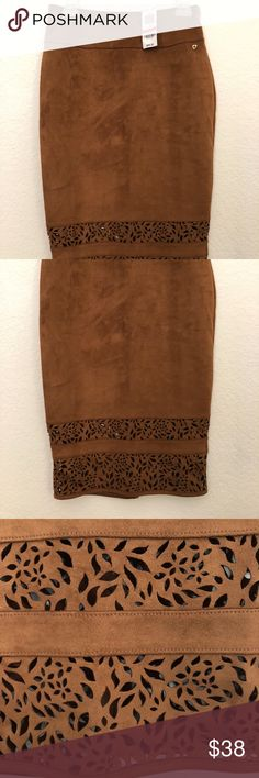 Thalia Sodi $69 Brown Camel Vegan Suede Skirt Thalia Sodi Womens Brown Camel Knee Length Vegan Suede Pencil Skirt Size XS  Manufacturer: Thalia Sodi Retail: $69.50 Condition: New with tags Style Type: Straight, Pencil Collection: Thalia Sodi Length: 26 1/2 inches Closure: Zip  Material: 92% Polyester/8% Spandex Fabric Type: Faux Suede Specialty: Laser Cut Style Number: 90299TS Thalia Sodi Skirts