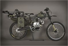 the Motopeds Survival Bike : Black Ops Edition. The apocalypse ready ride is built with the same kit as the standard Motoped, but comes with a bunch of action ready accessories to choose from, including a crossbow, two gas packs, a survival shovel, a harpoon, a blade a saw, carabiners, an axe, climbing rope, flashlight, and a lot more.