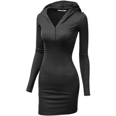 Doublju Womens Long Sleeve Henley Neck Basic Hoodie Dress (€18) ❤ liked on Polyvore featuring dresses, longsleeve dress and long sleeve dress