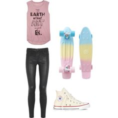 Black skinny jeans, white converse and a tank top with your penny board... Yup! I like it!