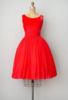 vintage 1950s dress ✪ red velvet dress
