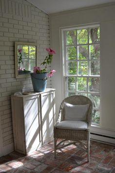 Cottage Fix - blue enamel bucket on the sun porch