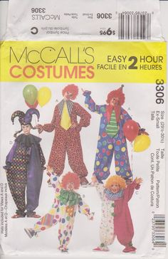 McCall's 3306 Clown Costume Sewing Pattern  4 by n2Imaginations (Craft Supplies & Tools, Patterns & Tutorials, costume, halloween, theater, clown, circus, charity, collar, ruffle, tie, floppy, hat, jester, ronald)