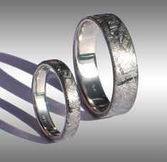 His and hers meteorite rings! @Casey Dalene Hunt this is friggin sweet!