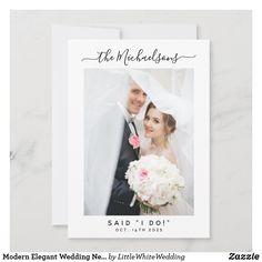 Modern Elegant Wedding Newlyweds Stylish Photo Romantic Wedding Photos, Elegant Wedding, Wedding Announcements, Little White, Simple Weddings, Christmas Wedding, Newlyweds, Photo Cards