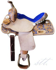 STT Kid's Barrel Saddle #659 -- Your little one will love this gorgeous Blue Suede Barrel Racing Saddle! | SouthTexasTack.com